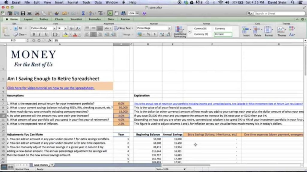 Retirement Planner Excel Spreadsheet and Financial Planning Excel ...
