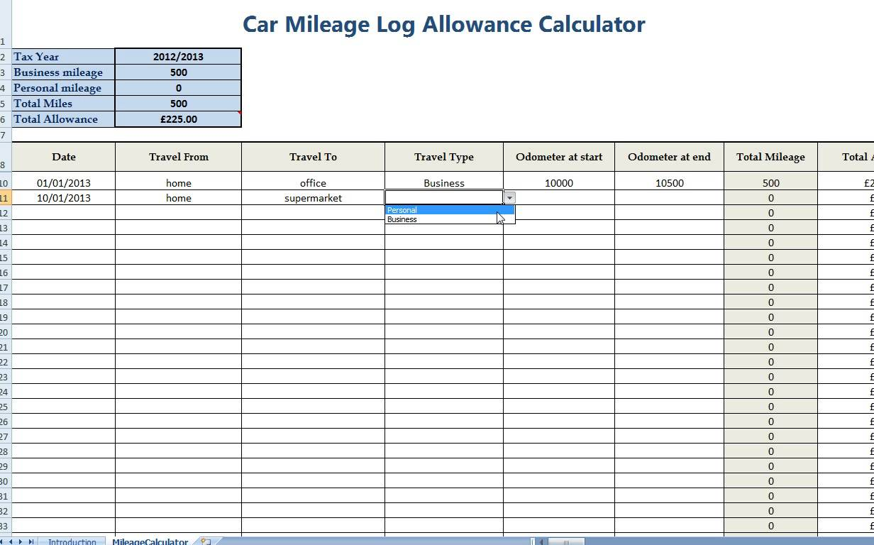 Irs Mileage Tracking Spreadsheet
