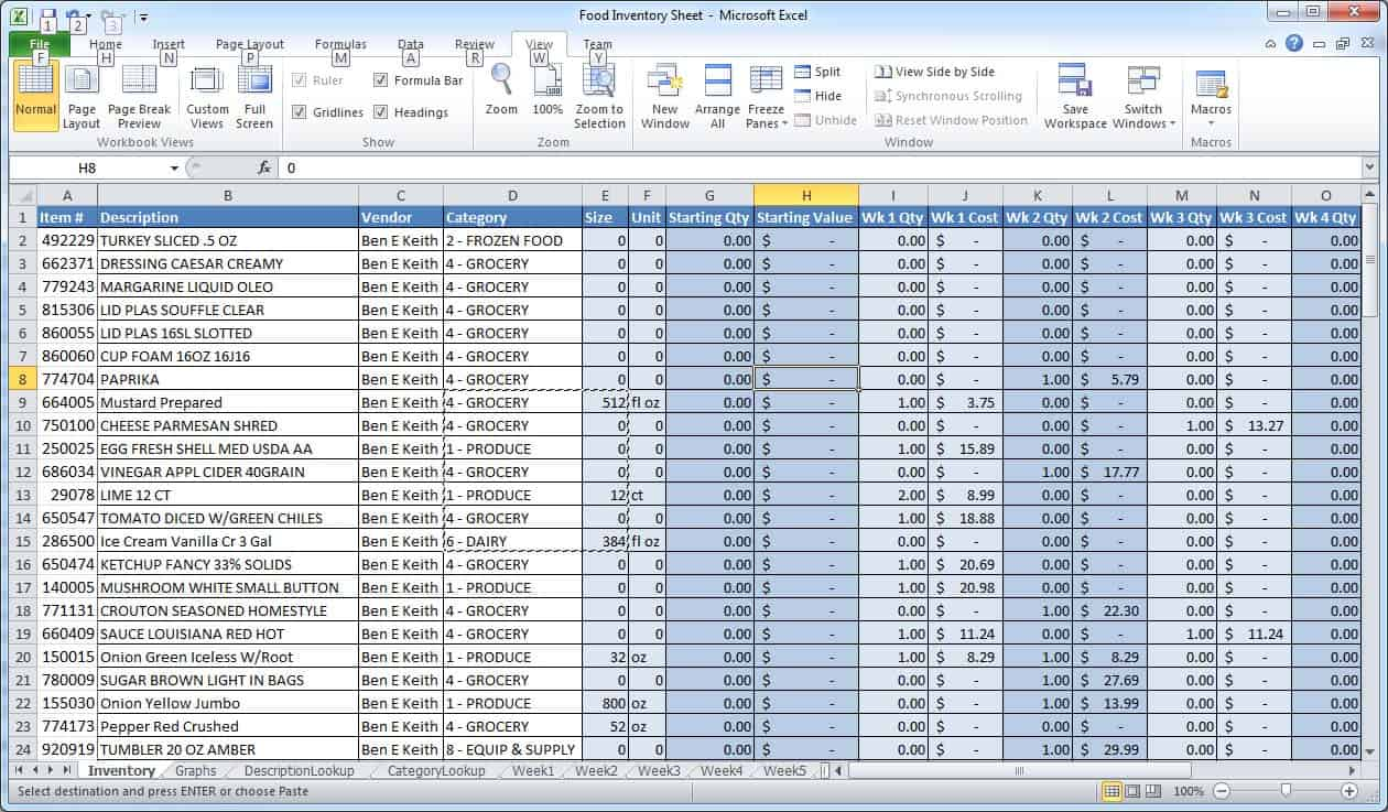 Example Excel Spreadsheets