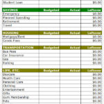 Simple Household Budget Form