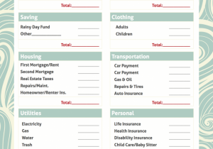 Personal Cash Flow Budget Worksheet